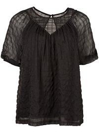 OLIVER BONAS Textured Square Check Black Short Sleeve Top / semi sheed tops
