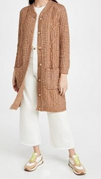THE GREAT. The Long Cable Cardigan in Caramel Marl