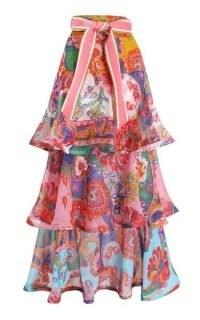 Zimmermann The Lovestruck Belted Cotton-Blend Maxi Skirt