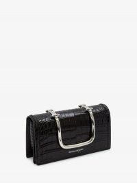Alexander McQueen The Story Book | black embossed croc leather bag | silver top handle handbag
