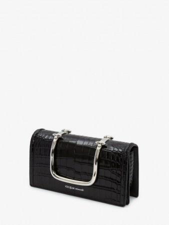 Alexander McQueen The Story Book | black embossed croc leather bag | silver top handle handbag - flipped