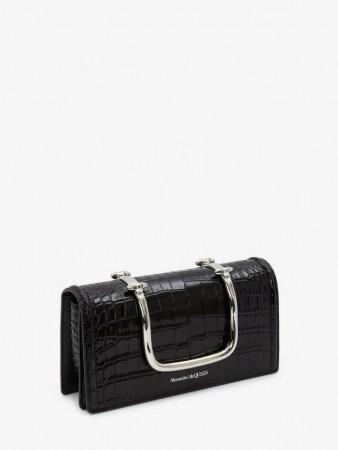 Alexander McQueen The Story Book | black embossed croc leather bag | silver top handle handbag