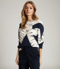 REISS TIFFANY COLOUR BLOCK KNITTED JUMPER NAVY / colourblock jumpers
