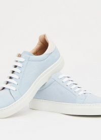L.K. BENNETT TOKYO SUEDE TRAINERS ~ luxe low top sneakers ~ pale blue sports / casual shoes