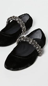 Tory Burch Crystal Strap Ballet Perfect Black | embellished ballerinas | velvet flats