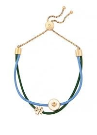 TORY BURCH Kira two-tone leather bracelet ~ gren and blue coloured bracelets