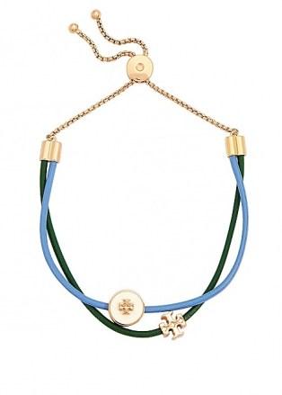 TORY BURCH Kira two-tone leather bracelet ~ gren and blue coloured bracelets - flipped