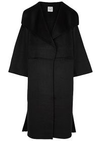 TOTÊME Annecy black wool and cashmere-blend coat ~ oversized shawl collar coats
