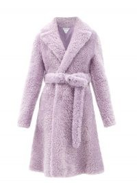 BOTTEGA VENETA Triangle-stitched belted shearling coat ~ purple textured winter coats ~ luxe outerwear