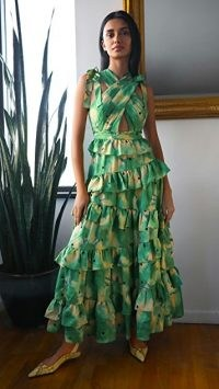 Ulla Johnson Zahra Gown ~ green ruffled gowns