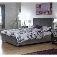 Utah Ottoman Wooden Double Bed In Grey