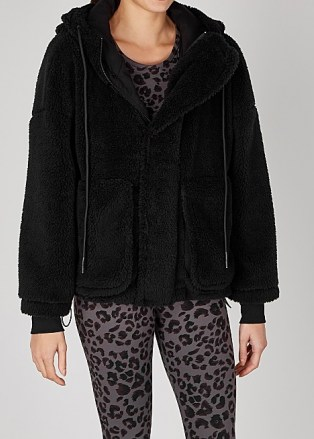 VARLEY Montalvo black faux shearling jacket / casual soft feel jackets - flipped