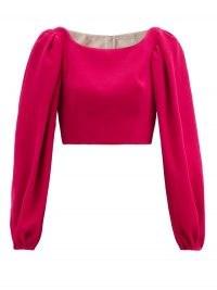 EMILIA WICKSTEAD Velina balloon-sleeve crepe cropped top ~ fuchsia pink tops