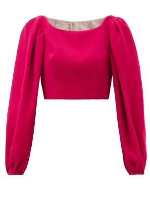EMILIA WICKSTEAD Velina balloon-sleeve crepe cropped top ~ fuchsia pink tops - flipped