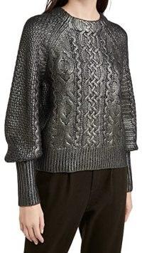 Veronica Beard Yola Pullover with Foil in Gunmetal / metallic knitwear