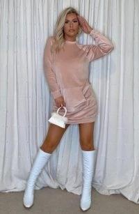 Vesper Brianna Blush Velvet Jumper dress – light pink loungewear dresses
