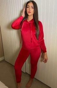 Vesper Megan Red Velvet Slim Leg Joggers – bright jogging bottoms