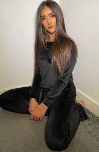 Vesper Ruby Black Velvet Wide Leg Trousers – loungewear pants