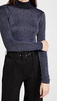 Victoria Victoria Beckham Fitted Ribbed Merino Metallic Sweater