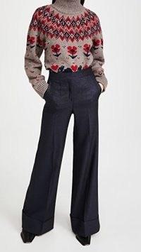 Victoria Victoria Beckham Wide Leg Metallic Tailoring Trousers ~ cuffed pants