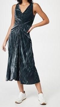 Vince Ruched Paneled V Neck Dress in Azure ~ blue velvet ruche-waist dresses