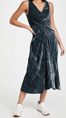 Vince Ruched Paneled V Neck Dress in Azure ~ blue velvet ruche-waist dresses - flipped