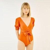 QUA VINO Volume Puff Sleeves One Piece Swimwear – Juju Garden Tangerine ~ orange swimsuits