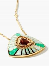 JACQUIE AICHE Vortex diamond, opal & 14kt gold necklace ~ luxe statement pendant necklaces