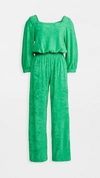 Warm Fun Funsie Jumpsuit in Emerald ~ green terry square neck jumpsuits