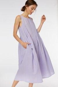 gorman WAVY LINEN DRESS ~ lilac linen cotton blend dresses