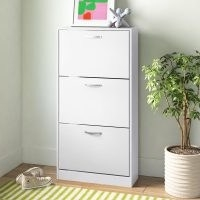 Vida 15 Pair Shoe Storage Cabinet by Wayfair Basics – features pull-down drawers with slick aluminium handles