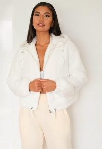 Missguided white faux fur bomber jacket | fluffy jackets