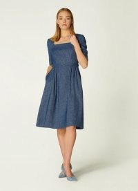 L.K. BENNETT WILSON DENIM LINEN DRESS ~ square neck dresses