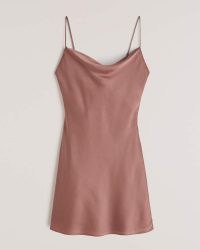 Abercrombie & Fitch Cowlneck Slip Mini Dress | dusty pink cami dresses