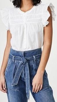 XIRENA Bri Top ~ white flutter sleeve tops ~ ruffle detail fashion ~ frill edge clothing