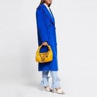 RIVER ISLAND Yellow double knot ruched handbag – top handle handbags