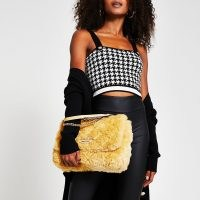 RIVER ISLAND Yellow faux fur quilted shoulder bag – fluffy handbags – textured flap bags