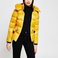 RIVER ISLAND Yellow padded cinched waist coat ~ bright coats