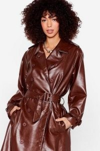 You Faux Leather Know Belted Trench Coat ~ brown double breasted coats