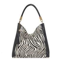 VodkaBlue Zebra Print Leather Grab Bag ~ monochrome animal print handbag