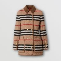 BURBERRY Icon Stripe Diamond Quilted Wool Riding Jacket ~ classic country style jackets