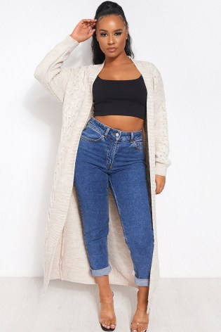 The Fashion Bible ADDIE BEIGE CABLE KNIT MAXI CARDIGAN | longline cardigans | neutral knitwear - flipped