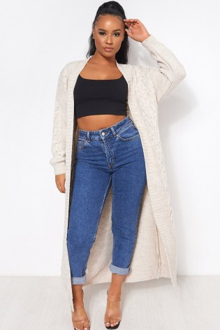 The Fashion Bible ADDIE BEIGE CABLE KNIT MAXI CARDIGAN | longline cardigans | neutral knitwear