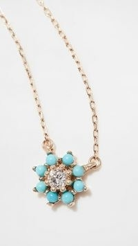 Adina Reyter Turquoise and Diamond Flower Necklace / blue stone floral necklaces