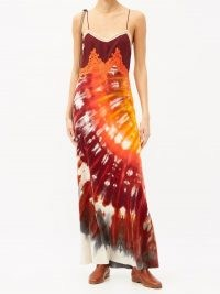 GABRIELA HEARST Adolphine lace-trimmed tie-dye cashmere slip dress | orange and burgundy strappy maxi | long cami dresses