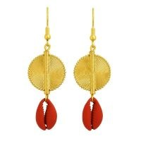 Aflé Bijoux Akan Cowrie Shells Earrings Red / shell drops / ocean inspired jewellery