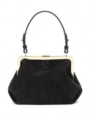 KHAITE Agnes small suede top-handle bag ~ small vintage style handbag - flipped