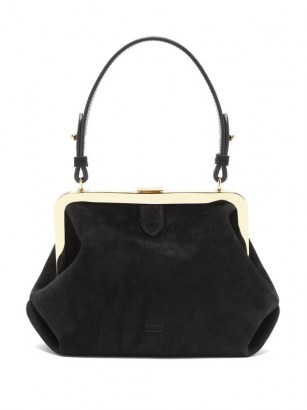 KHAITE Agnes small suede top-handle bag ~ small vintage style handbag