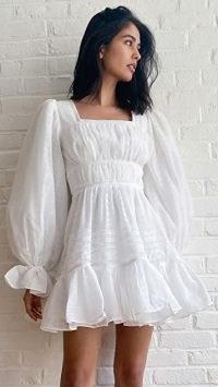 Aje Impression Dress | feminine white balloon sleeve dresses