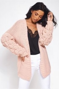 The Fashion Bible ALESSA CHUNKY KNIT NUDE POM SLEEVE CARDIGAN | pink textured open front cardigans | feminine knits